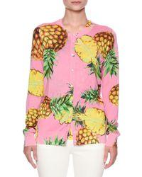 Dolce & Gabbana | Pink Pineapple-print Crewneck Cardigan | Lyst