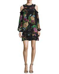 Nicholas | Black Dahlia Floral-print Ruffle Mini Dress | Lyst