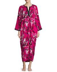 Oscar de la Renta | Multicolor Floral-print Crepe De Chine Lounge Caftan | Lyst