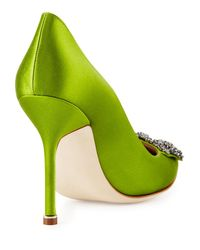 Manolo Blahnik - Green Hangisi 105mm Satin Pump - Lyst