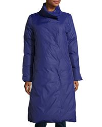 Eileen Fisher | Blue Long Stand-collar Puffer Coat | Lyst