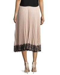 RED Valentino - Multicolor Pleated Lace-trim Midi Skirt - Lyst