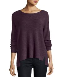Eileen Fisher | Purple Long-sleeve Boxy Ribbed Merino Wool Top | Lyst