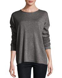 Eileen Fisher | Yellow Long-sleeve Fine-gauge Knit Top | Lyst