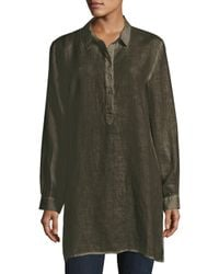Eileen Fisher | Green Long-sleeve Collared Henley Linen Tunic | Lyst