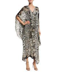 Roberto Cavalli | Multicolor Leopard-print Silk Caftan | Lyst