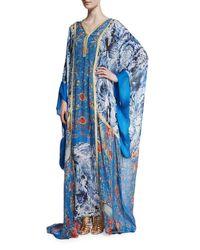 Roberto Cavalli | Blue Printed Chiffon V-neck Long Caftan | Lyst