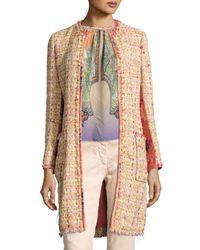 Etro | Multicolor Brocade-panel Tweed Coat | Lyst