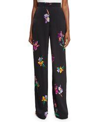 Etro | Black High-rise Floral Wide-leg Pants | Lyst