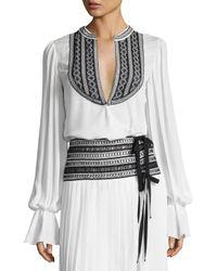 Oscar de la Renta | White Embroidered Long-sleeve Wrap Blouse | Lyst