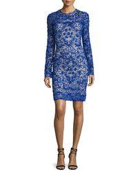 Naeem Khan - Blue Floral-embellished Tulle Dress  - Lyst