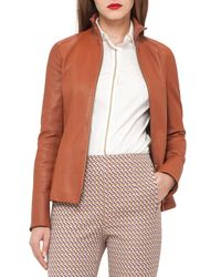 Akris | Brown Haley Leather Zip-front Jacket | Lyst