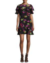 Etro | Black Jungle-print Ruffled Dress | Lyst