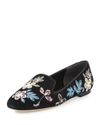 Tory Burch   Black Embroidered Suede Smoking Slipper   Lyst