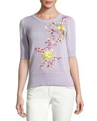 Etro | Purple Floral-embroidered Half-sleeve Sweater | Lyst