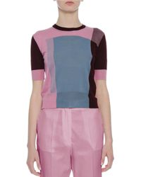 Bottega Veneta | Pink Colorblock Crewneck Short-sleeve Sweater | Lyst
