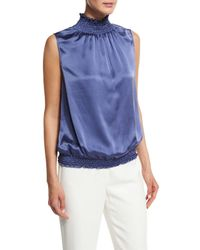 Lafayette 148 New York | Blue Marlana Sleeveless Silk Blouse W/ Smocked Neckline & Hem | Lyst