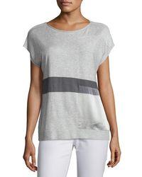 Lafayette 148 New York | Gray Short-sleeve Bateau-neck Sweater W/ Silk Panel | Lyst