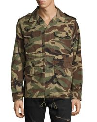 Saint Laurent - Green Love Force Canvas Military Jacket for Men - Lyst