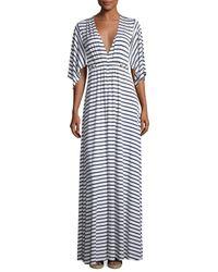 Rachel Pally | Blue Striped Caftan Maxi Dress | Lyst