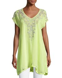 Johnny Was | Green Suavecita Long V-neck Embroidered Tunic | Lyst