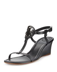 Tory Burch | Black Miller Logo 60mm Wedge Sandal | Lyst
