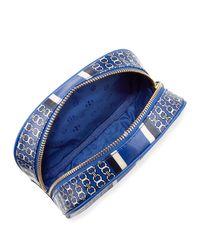 Tory Burch - Blue Gemini Link Round Cosmetic Bag - Lyst