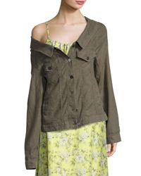 Robert Rodriguez - Green Off-the-shoulder Long Jacket - Lyst