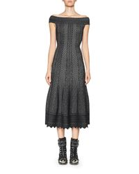 Alexander McQueen - Black Jacquard Off-the-shoulder Midi Dress - Lyst