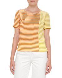 Akris Punto | Multicolor Striped Short-sleeve Silk Blouse | Lyst