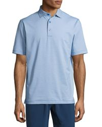 Peter Millar | Blue Jubilee Micro-striped Stretch Polo Shirt for Men | Lyst