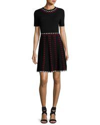 Shoshanna | Black Thompson Short-sleeve Knit Fit-and-flare Dress | Lyst