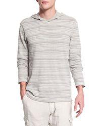 John Varvatos   Gray Textured Stripe Long-sleeve Hooded Sweater for Men   Lyst