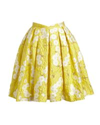 Zac Posen - Yellow Floral Jacquard Pleated Skirt - Lyst