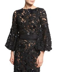 Johanna Ortiz | Black Porto Lace Bishop-sleeve Blouse | Lyst