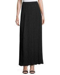 MICHAEL Michael Kors - Black Polka-dot Pleated Maxi Skirt - Lyst