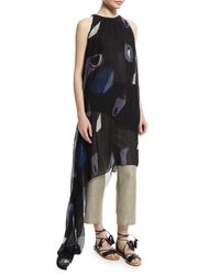 Adam Lippes | Black Sleeveless Pleated Asymmetric Gown | Lyst