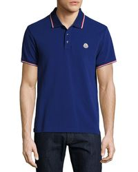 Moncler - Pink Tipped Piqué Polo Shirt for Men - Lyst