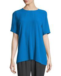 Eileen Fisher   Black Short-sleeve Silk Box Top   Lyst