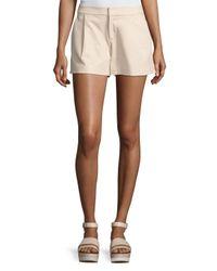 Alice + Olivia | Metallic Arosa Pleated Leather Shorts | Lyst
