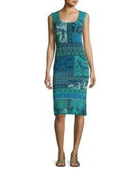 Fuzzi | Blue Sleeveless Lace Mosaic-print Sheath Dress | Lyst