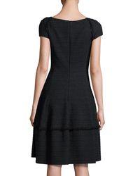 Talbot Runhof - Black Kovalic Full-skirt Cap-sleeve Dress - Lyst