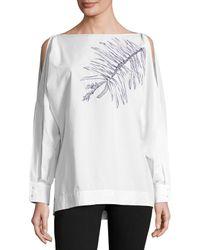 ESCADA   White Leaf-embroidered Cold-shoulder Blouse   Lyst