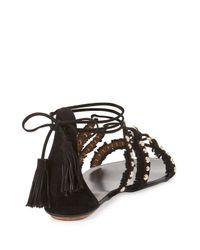Aquazzura | Black Tulum Fringed Suede Flat Sandal | Lyst