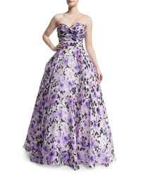 Naeem Khan - White Sweetheart-neck Strapless Floral-print Gown - Lyst