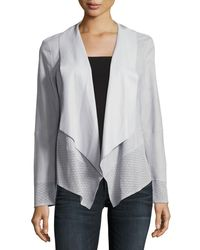 Neiman Marcus   Gray Draped Suede Jacket W/ Perforated Trim   Lyst