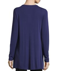 Eileen Fisher | Blue Silk Jersey Long-sleeve Tunic | Lyst