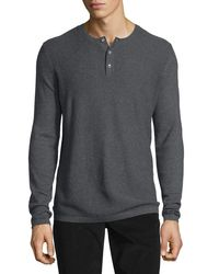 Vince | Gray Jersey Mix-stitch Long-sleeve Henley T-shirt for Men | Lyst