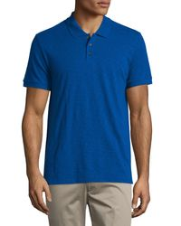 Vince | Blue Short-sleeve Slub Polo Shirt for Men | Lyst