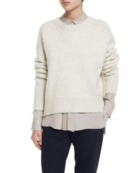 VINCE | White Knit Drop-shoulder Pullover Sweater | Lyst